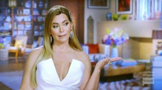 Jay Godfrey White V-Neck Jumpsuit outfit worn by D'Andra Simmons in The Real Housewives of Dallas Season 04 Episode 11 - TV Show Outfits and Products