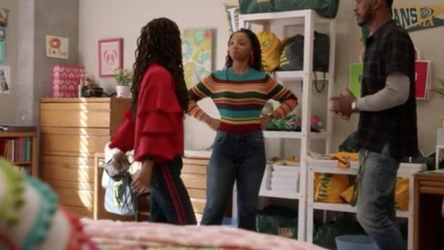 Fashion Trends 2021: Jean 7/8 to red stripes of Skylar Forster (Halle Bailey) seen in Grown-Ish Season 1 Episode 6