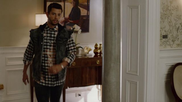 Jean jacket sleeveless with hood PRPS outfit worn by Sam Jones (Rafael de la Fuente) seen in Dynasty Season 2 Episode 2 - TV Show Outfits and Products