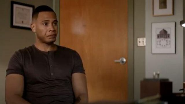 John Varvatos Purple Henley Tee outfit worn by Andre Lyon (Trai Byers) in Empire Season 06 Episode 03 - TV Show Outfits and Products