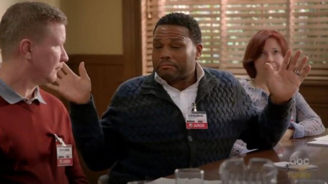 John Varvatos Star USA Basketweave Knit Striped Cardigan outfit worn by Andre 'Dre' Johnson (Anthony Anderson) in black-ish (Season 03 Episode 16) - TV Show Outfits and Products