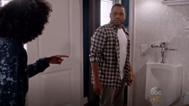 John Varvatos Star USA Trim Fit Check Sport Shirt outfit worn by Andre 'Dre' Johnson (Anthony Anderson) in black-ish (S02E02) - TV Show Outfits and Products