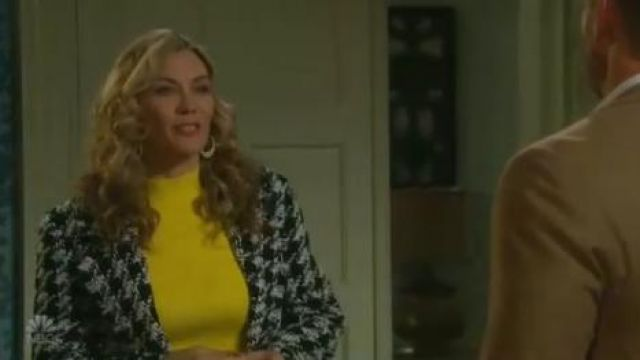 Joie Aubrielle Houndstooth Coat outfit worn by Kristen DiMera (Stacy Haiduk) on Days of Our Lives October 1, 2019 - TV Show Outfits and Products