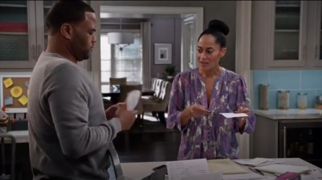 Joie Datev Floral Print Silk Blouse outfit worn by Rainbow Johnson (Tracee Ellis Ross) in black-ish (S02E13) - TV Show Outfits and Products