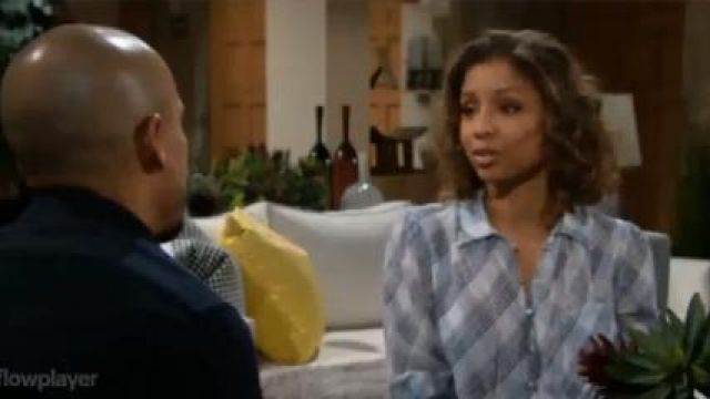 Joie Malcah Blouse outfit worn by Elena Dawson (Brytni Sarpy) as seen on The Young and the Restless November 8, 2019 - TV Show Outfits and Products