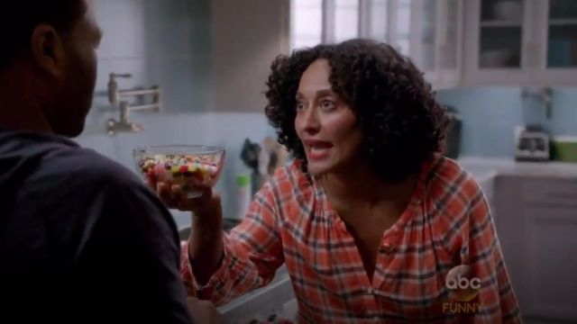 Joie Selma Plaid Blouse outfit worn by Rainbow Johnson (Tracee Ellis Ross) in black-ish (S02E02) - TV Show Outfits and Products