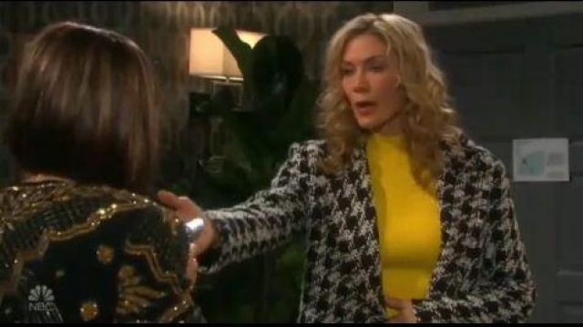 Joie white and black coat outfit worn by Kristen DiMera (Stacy Haiduk) as seen in Days of Our Lives October 2, 2019 - TV Show Outfits and Products