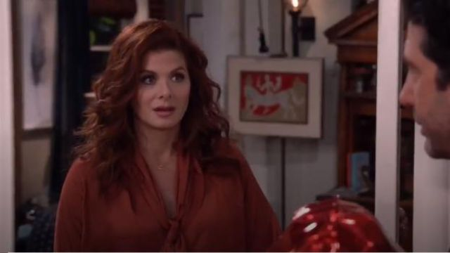 Juan Carlos Obando Washed Satin Tieneck Blouse outfit worn by Grace Adler (Debra Messing) in Will & Grace (S02E14) - TV Show Outfits and Products