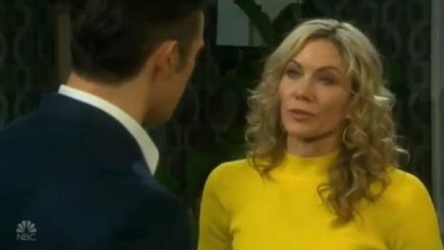 Karen Millen Peplum knit belted dress outfit worn by Kristen DiMera (Stacy Haiduk) on Days of Our Lives October 1, 2019 - TV Show Outfits and Products