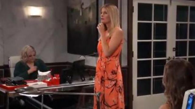 Karen Millen Pleated Floral Midi Dress outfit worn by Michelle Stafford as seen in General Hospital June 07,2019 - TV Show Outfits and Products