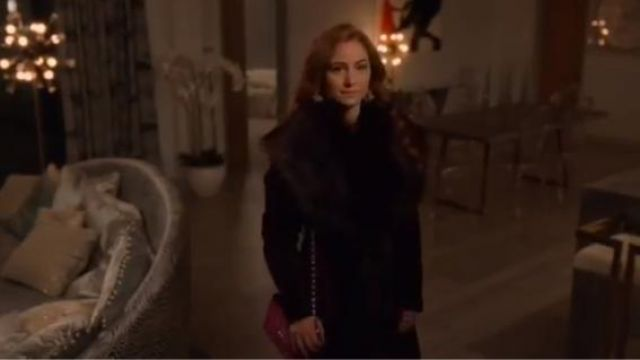 Karen Millen Red Wrap faux-fur coat outfit worn by Zara (Sophia La Porta) in Four Weddings and a Funeral Season 1 Episode 5 - TV Show Outfits and Products