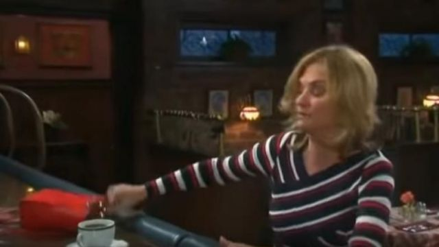 Karen millen Crisscross Striped Dress outfit worn by Eve Donovan (Kassie DePaiva) as seen on Days of Our Lives November 6, 2019 - TV Show Outfits and Products