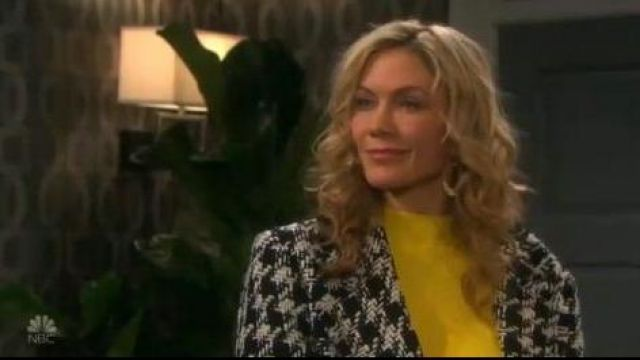 Karen millen yellow peplum knit belted dress outfit worn by Kristen DiMera (Stacy Haiduk) as seen in Days of Our Lives October 2, 2019 - TV Show Outfits and Products