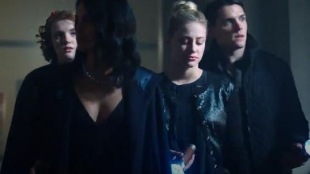 Karl Lagerfeld Paris Faux Leather Floral Cardigan outfit worn by Betty Cooper (Lili Reinhart) in Riverdale (Season 01 Episode 03) - TV Show Outfits and Products