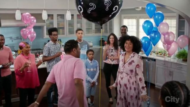 Kate Spade Encore Rose Chiffon Dress outfit worn by Rainbow Johnson (Tracee Ellis Ross) in black-ish (Season 03 Episode 14) - TV Show Outfits and Products