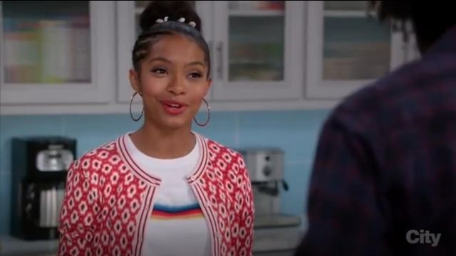 Kate Spade New York Posy Ikat Crewneck Cardigan outfit worn by Zoey Johnson (Yara Shahidi) in black-ish (Season 03 Episode 13) - TV Show Outfits and Products
