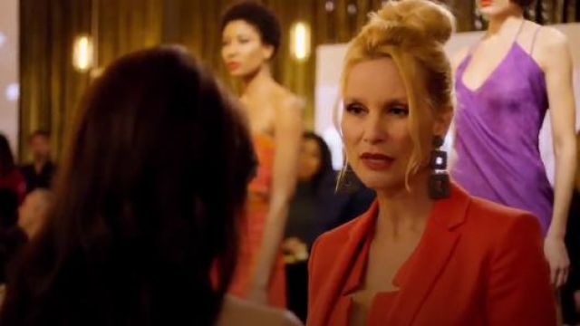 Kenneth Jay Lane Double Square Earrings outfit seen on Alexis Carrington (Nicollette Sheridan) in Dynasty (S01E19) - TV Show Outfits and Products
