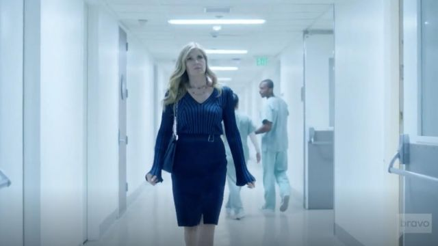 Fashion Trends 2021: Kenzo Fitted Long Sleeve V Neck Blue Sweater outfit seen on Debra Newell (Connie Britton) in Dirty John S01E08
