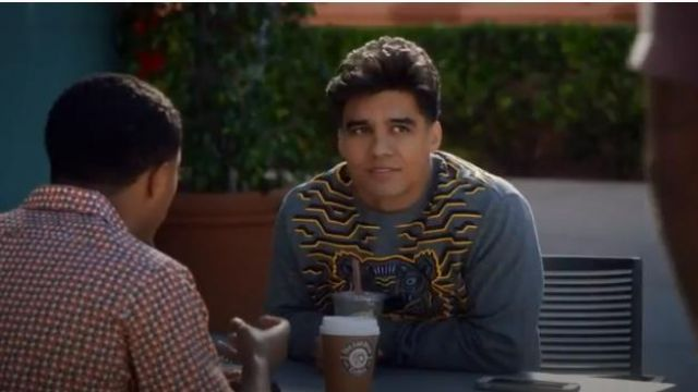 Kenzo Gray Geo Tiger Sweatshirt outfit worn by Vivek Shah (Jordan Buhat) in grown-ish (Season 02 Episode 14) - TV Show Outfits and Products