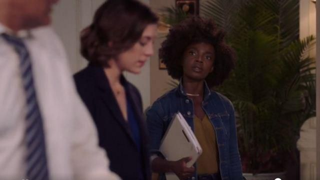 L'Agence Blue Button Front Long Denim Jacket outfit worn by Briana Johnson (MaameYaa Boafo) in Bluff City Law Seasn 01 Episode 02 - TV Show Outfits and Products