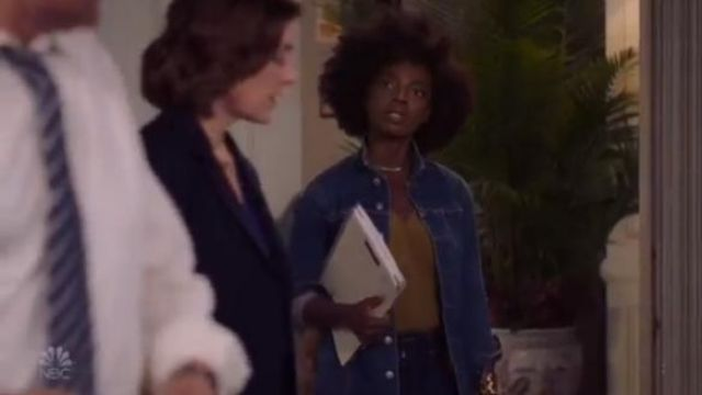 L'Agence Blue Vienna Denim Jacket outfit worn by Briana Johnson (MaameYaa Boafo) in Bluff City Law Season 1 Episode 2 - TV Show Outfits and Products