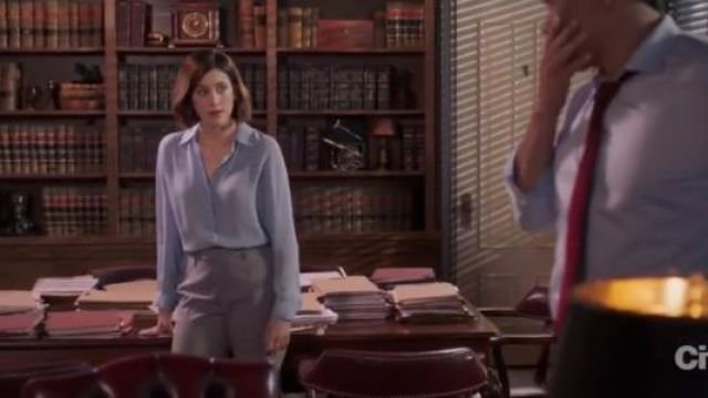 L'Agence Light Blue Nina Blouse outfit worn by Sydney Strait (Caitlin McGee) in Bluff City Law Season 1 Episode 8 - TV Show Outfits and Products
