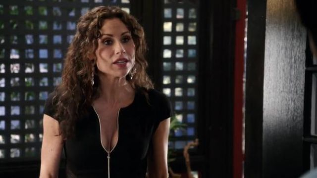 L'Agence Mesh Cutout Zip-Front Dress outfit worn by Fiona (Minnie Driver) in About a Boy (S01E09) - TV Show Outfits and Products
