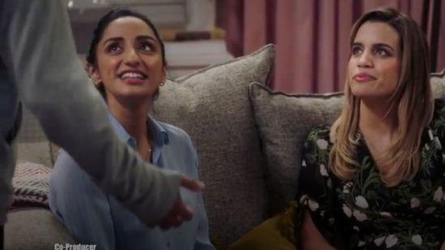 L'agence Nina Stripe Blouse outfit worn by Mallory Modi (Kiran Deol) in Sunnyside Season 01 Episode 07 - TV Show Outfits and Products