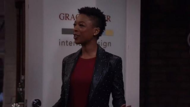 L'Agence Montego Studded Leather Blazer outfit worn by Samira in Will & Grace (S02E16) - TV Show Outfits and Products
