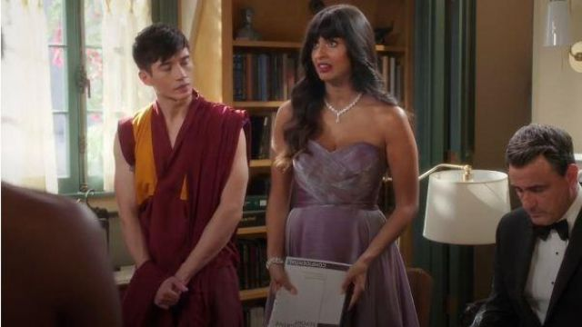 La Femme Purple Strapless Dress outfit worn by Tahani Al-Jamil (Jameela Jamil) in The Good Place Season 04 Episode 07 - TV Show Outfits and Products