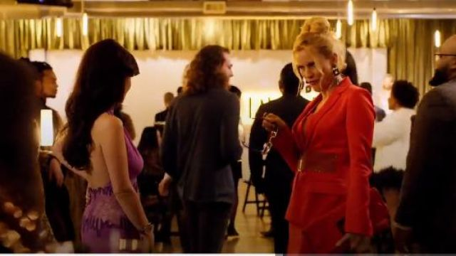 La Perla Rubine Virgin Wool Jacket with Swarovski Belt outfit seen on Alexis Carrington (Nicollette Sheridan) in Dynasty (S01E19) - TV Show Outfits and Products