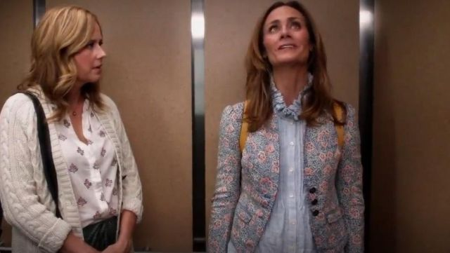 Fashion Trends 2021: La Vie Rebecca Taylor Long Sleeve Soft Stripe Top outfit seen on Maya (Diane Farr) in Splitting Up Together (S02E06)