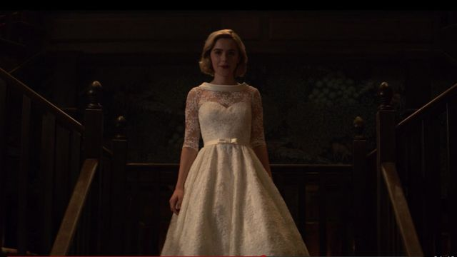 Lace dress back bare white of Sabrina Spellman (Kiernan Shipka) seen in The New Adventures of Sabrina Season 1 Episode 2 - TV Show Outfits and Products