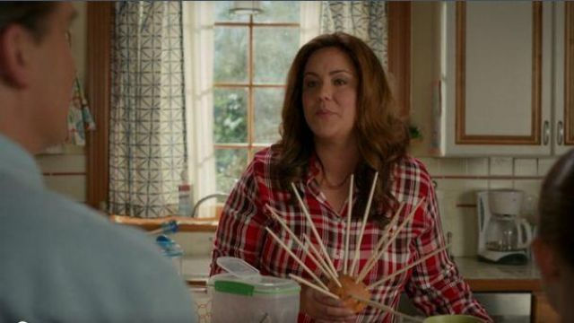 Lauren Ralph Lauren red plaid blouse outfit worn by Katie Otto (Katy Mixon) in American Housewife Season 04 Episode 03 - TV Show Outfits and Products