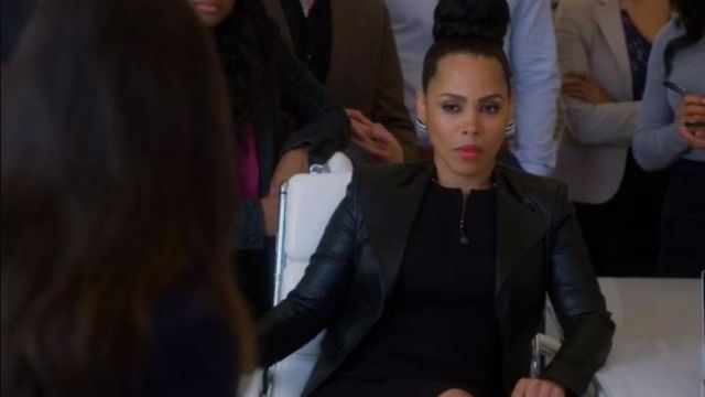 Leather jacket Theory of Tegan Price (Amirah Vann) seen in the How to get away with Murder Season 5 Episode 6 - TV Show Outfits and Products