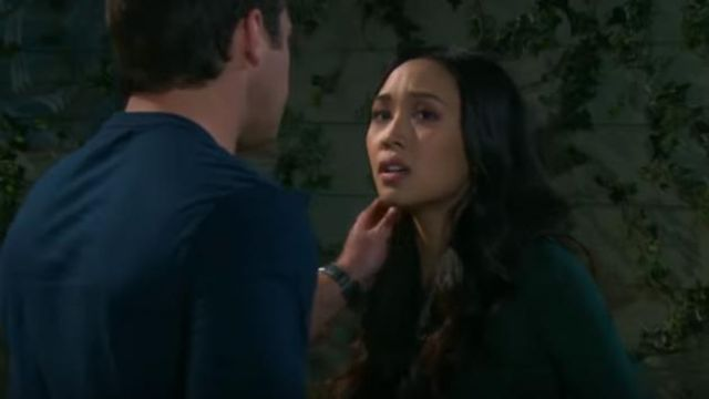 Leith Ruched Long Sleeve Dress outfit worn by Thia Megia as seen on Days of Our Lives May 17, 2019 - TV Show Outfits and Products