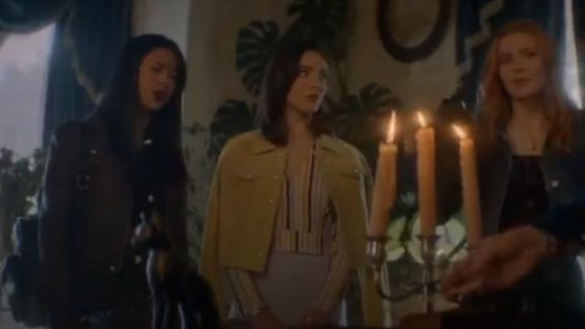Leith White V-Neck Crop Top in Pink Spring Stripe outfit worn by Bess (Maddison Jaizani) in Nancy Drew Season 1 Episode 1 - TV Show Outfits and Products