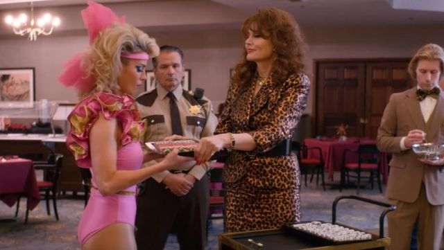Leopard patterned skirt outfit worn by Sandy Devereaux St. Clair (Geena Davis) as seen in GLOW (Season 03) - TV Show Outfits and Products
