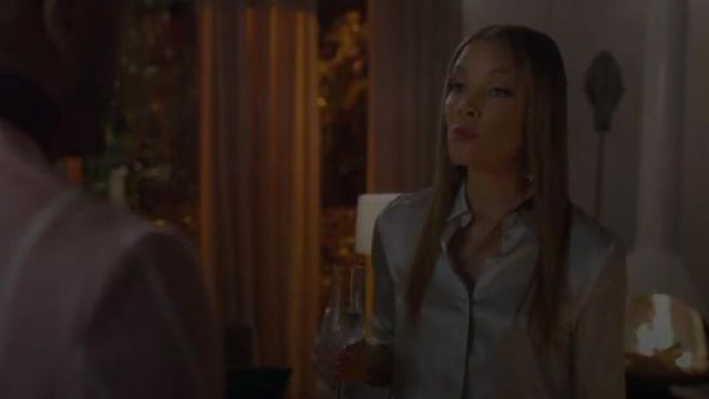 Light Blue Satin Blouse outfit worn by Dominique Deveraux (Michael Michele) in Dynasty Season 2 Episode 21 - TV Show Outfits and Products