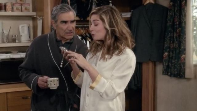 Fashion Trends 2021: LilySilk 22 Momme Gold Cuff Silk Pajama outfit seen on Alexis Rose (Annie Murphy) in Schitt's Creek S05E03