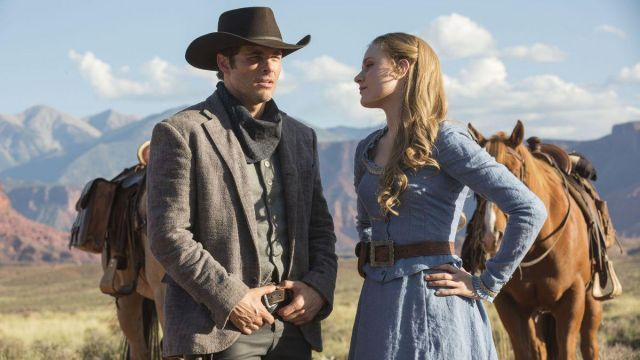 Long dress blue of Dolores Abernathy (Evan Rachel Wood) seen in Westworld Season 1 Episode 1 - TV Show Outfits and Products