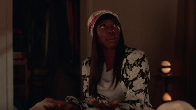 Long dress floral Off-white Molly Carter (Yvonne Orji) seen in Insecure (Season 3 Episode 8) - TV Show Outfits and Products