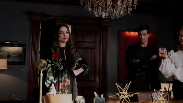 Long dress flowered one of Fallon Carrington (Elizabeth Gillies) seen in Dynasty (Season 2 Episode 1) - TV Show Outfits and Products