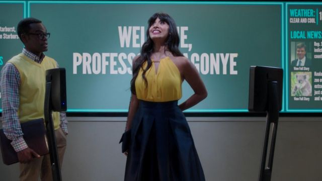 Long skirt blue Ms. Al-Jamil (Jameela Jamil) seen in The Good Place (Season 3 Episode 3) - TV Show Outfits and Products