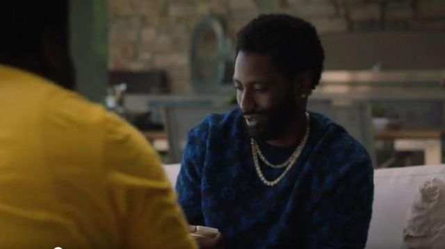 Louis Vuitton Black and Blue LV Print Sweater outfit worn by Ricky Jerret (John David Washington) in Ballers Season 05 Episode 06 - TV Show Outfits and Products