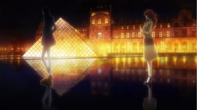 Louvre Pyramid visited by Fujiko Mine in Lupin the Third (S05) - TV Show Outfits and Products