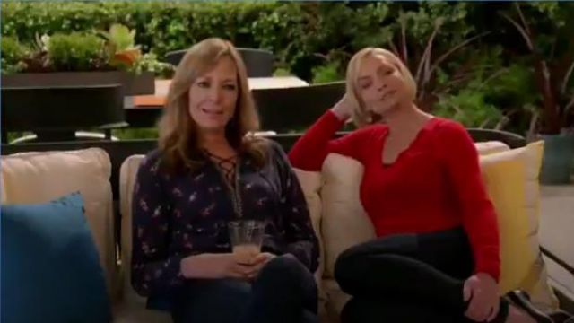 Lucky Brand Ditsy Lace Up Peasant Top in Navy Multi outfit worn by Bonnie (Allison Janney) in Mom Season 7 Episode 7 - TV Show Outfits and Products