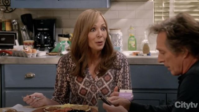 Fashion Trends 2021: Lucky Brand Graphic Print Top outfit seen on Bonnie (Allison Janney) in Mom S06E13