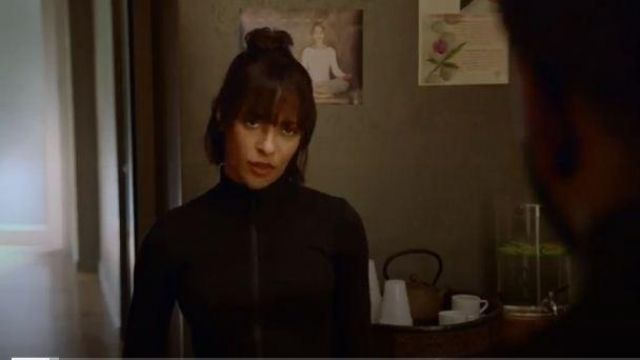 Lululemon black zip front mock neck jacket outfit worn by Edie Palmer (Megalyn Echikunwoke) in Almost Family Season 01 Episodea 01 - TV Show Outfits and Products