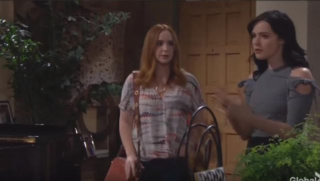 MICHAEL Michael Kors Brooklyn Suede Large Camera Bag outfit worn by Mariah Copeland (Camryn Grimes) as seen in The Young and the Restless May 24, 2019 - TV Show Outfits and Products